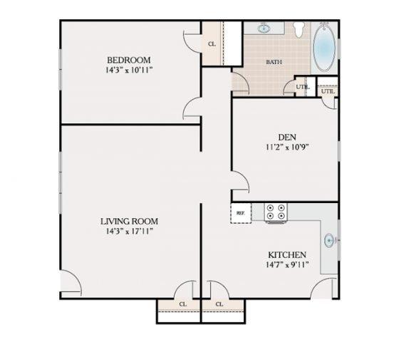 1 Bedroom 1 Bathroom. 877 sq. ft